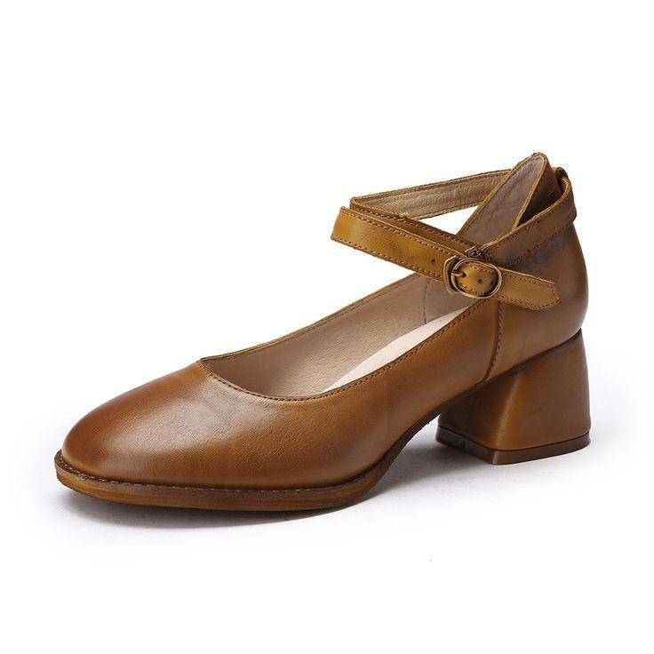112.99$  Buy here - http://ali251.worldwells.pw/go.php?t=32789984680 - Designer Spring Womens Khaki Pumps Sale Genuine Leather Ladies 4CM High Heels Fashion Handmade Women Mary Jane Shoes Comfortable
