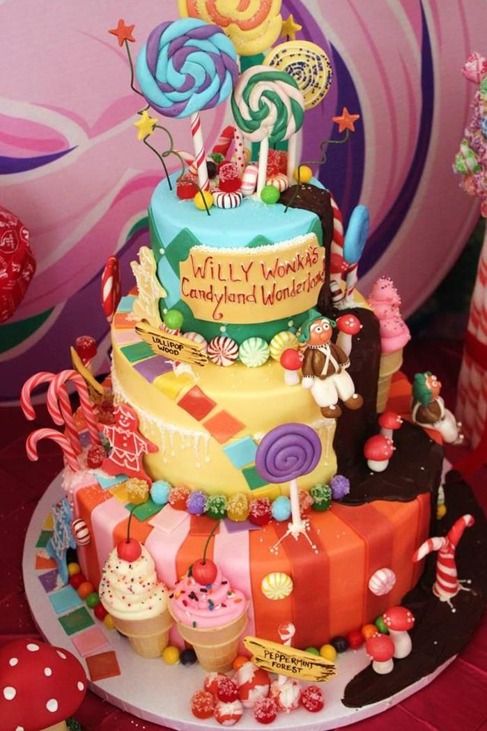 Willy Wonka's Candyland Wonderland Themed Party with So Many Cute Ideas via Kara's Party Ideas : The Amazing Cake