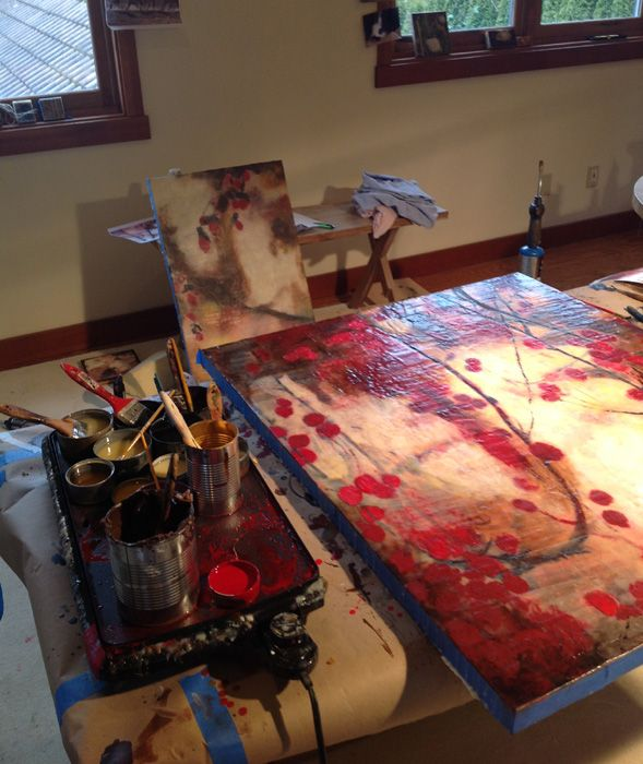 cozy, messy studio=productive studio, working on 2 commissions for private NW…