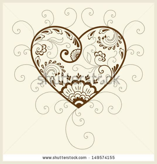 Vector abstract floral elements in indian mehndi style Abstract henna floral vector illustration Design element Heart silhouette