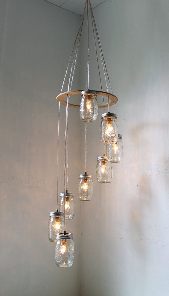 (via Spiral Mason Jar Chandelier Hanging Swag Lighting by BootsNGus): Lamps, Diy Ideas, Hanging Lights, Canning Jars, Lights Fixtures, Jars Crafts, Pendants Lights, Mason Jars Lights, Mason Jars Chandeliers