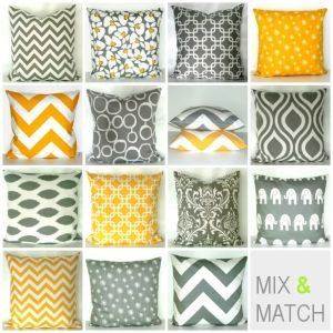 Kombinationsmöglichkeiten 40 x 40 in grau-gelb-weiß