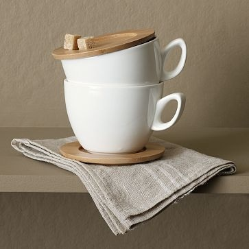 These would be so perfect for coffee in bed. Plus I am totally taken by the texture combo of porcelain and wood together.