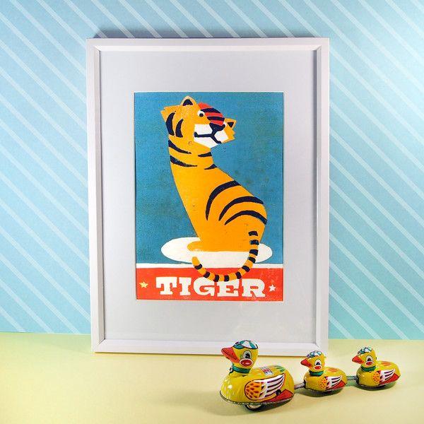 Holzdruck - Tiger (4-farbiger Holzschnitt) - ein Designerstück von Pia-Kolle bei DaWanda