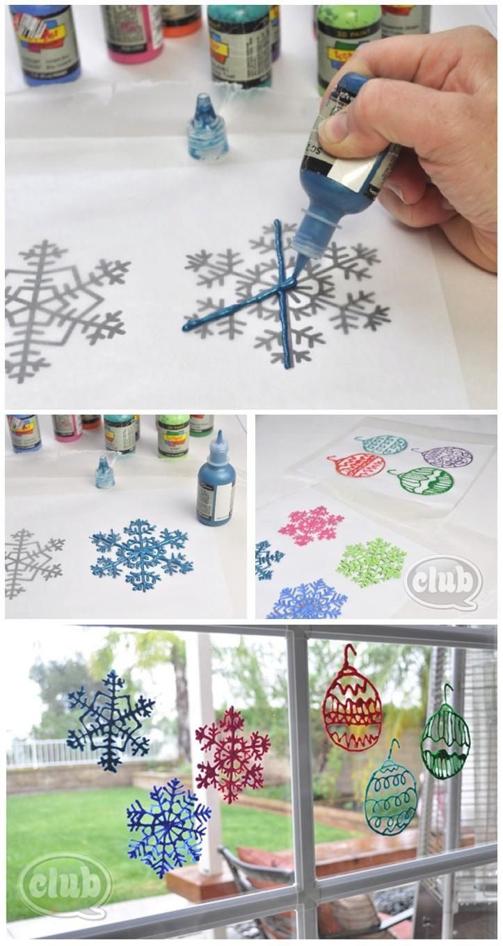 Includes link to download and print your copies of snowflake and ornament templates to place under waxed paper to make these Puffy Paint Window Decorations---a great kid friendly activity :) http://club.chicacircle.com/puffy-paint-window-decorations/