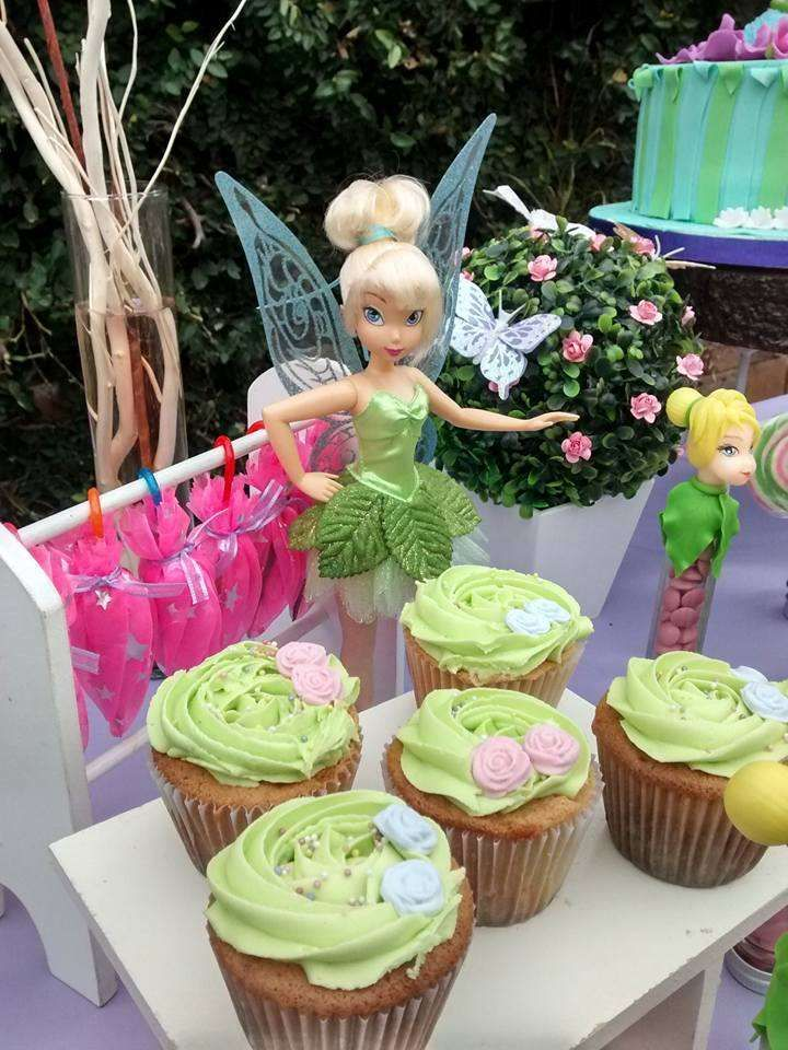 Flower cupcakes at a Tinkerbell birthday party! See more party ideas at CatchMyParty.com!