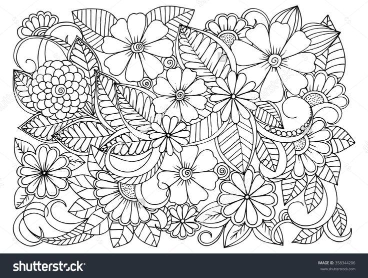 siyah beyaz çiçek deseni doodle.  boyama kitabı için Sayfa: çocuklar ve yetişkinler için çok ilginç ve rahatlatıcı bir iş.  Zentangle çizimi.  Sihirli bahçede çiçek halı
