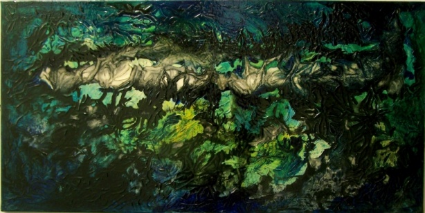 Mixed media painting by Don Henderson  Acrylic paint , ink and varnish on canvas 50cms x 100cms