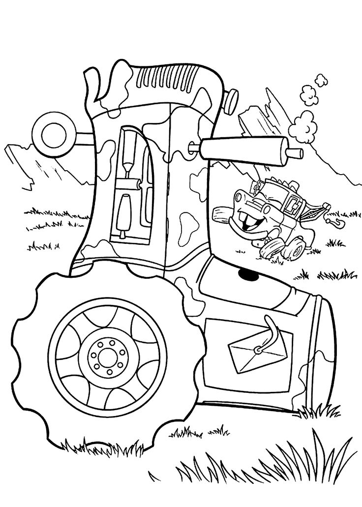 Mater and Tractor coloring pages