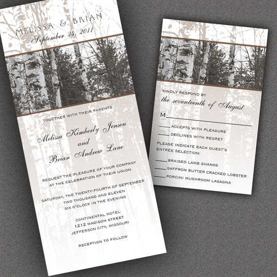 Tree Wedding Invitations with Bare Birch Trees by ALookOfLove, $50.00