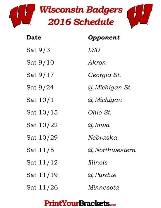 Printable Wisconsin Badgers Football Schedule 2016