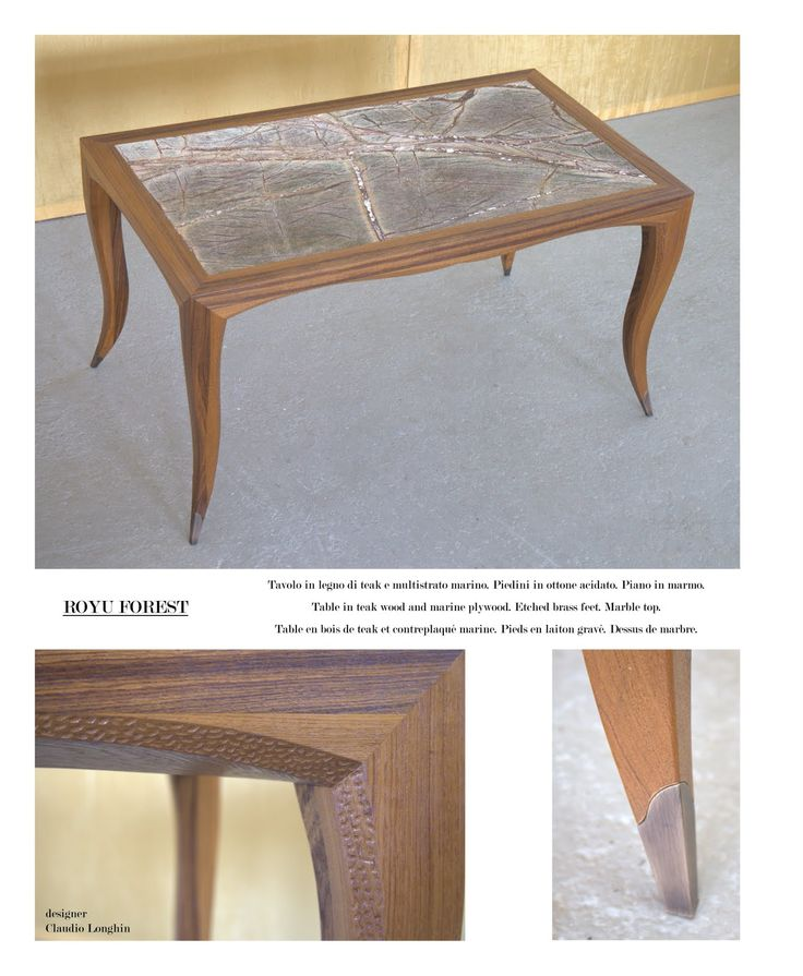 Table Royu Forest Table Measures: 160 x 80 x 6 cm; made of teak wood and marine plywood; etched brass feet. Marble top.