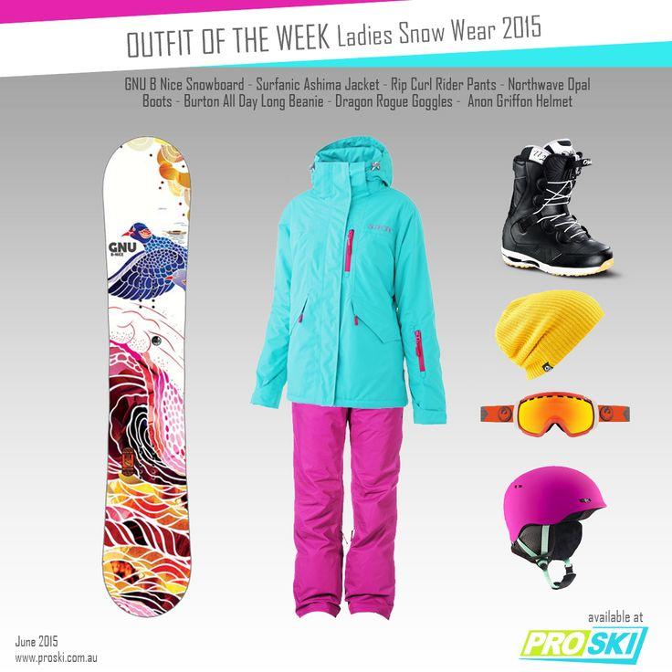 OUTFIT OF THE WEEK - Ladies Snow Wear 2015 available at PROSKI www.proski.com.au #snowtrends #snowgear #ootd #oufitoftheweek #dresstoimpress #gnu #surfanic #ripcurl #northwave #burton #dragon #anon