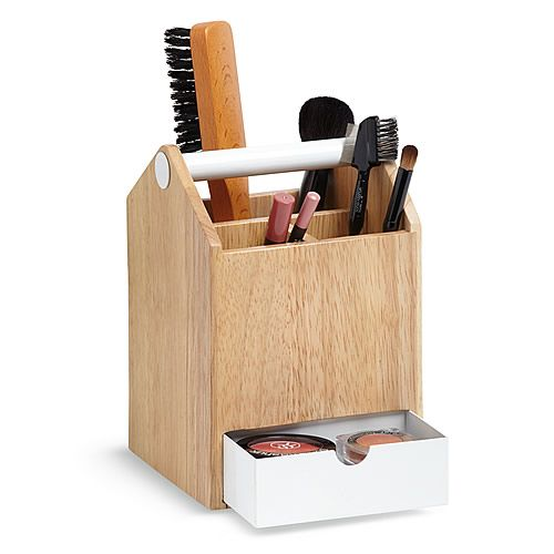 Wood and white metal storage caddy by umbra, Great for hair straighteners storage