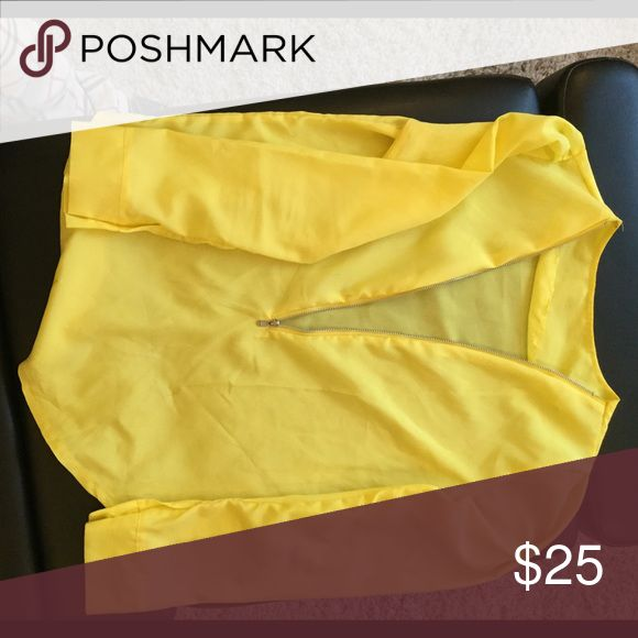 Sexy Neon yellow zip blouse Neon yellow satin zip-up blouse Tops Blouses