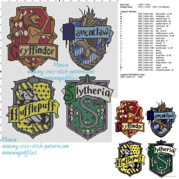 Hogwarts houses cross stitch pattern - free cross stitch patterns ...