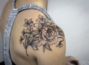 Black an gray ink florals by Kristi Walls