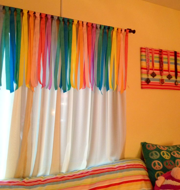 Rainbow Ribbon Valence I made for my daughter's bedroom.