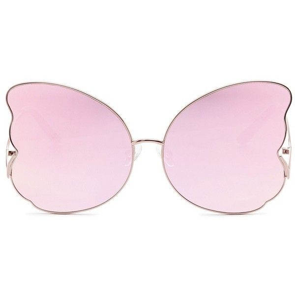 Matthew Williamson Butterfly frame metal mirror sunglasses (7.210 UYU) ❤ liked on Polyvore featuring accessories, eyewear, sunglasses, metallic, matthew williamson, metal sunglasses, butterfly glasses, matthew williamson sunglasses and metallic glasses