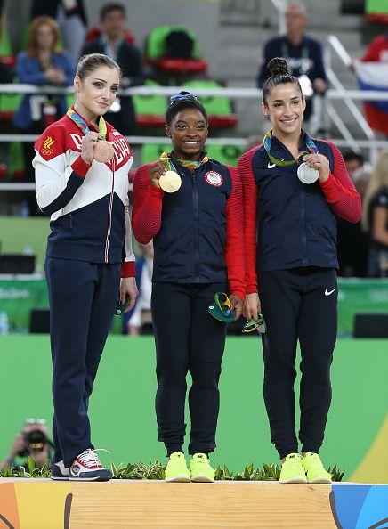 #RIO2016 Bronze medalist Aliya Mustafina Simone Biles of USA Alexandra Raisman of USA pose during the medal ceremony for the Women's Individual AllAround...