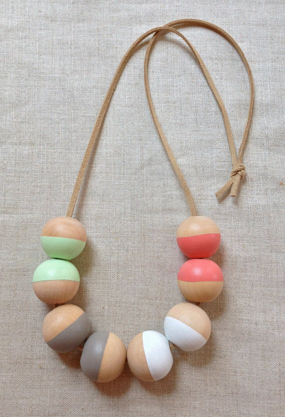 Modern Geometric Wood Bead Necklace by thislovesthat on Etsy