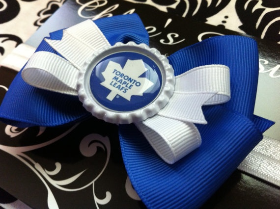 Toronto Maple Leafs blue and white bow by Chloesposies on Etsy, $8.00