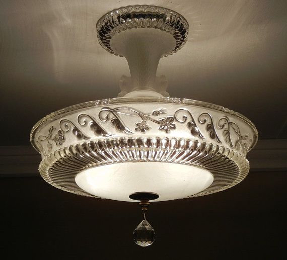 Vintage 1940's Antique Frosted Pressed Glass Semi Flush