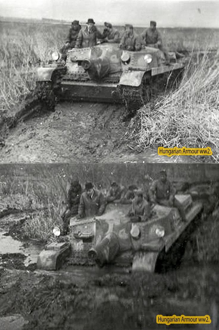 Hungarian Zrínyi prototipe testing in deep mud. Zrínyi 43.M tesztelése egy mély saras területen.