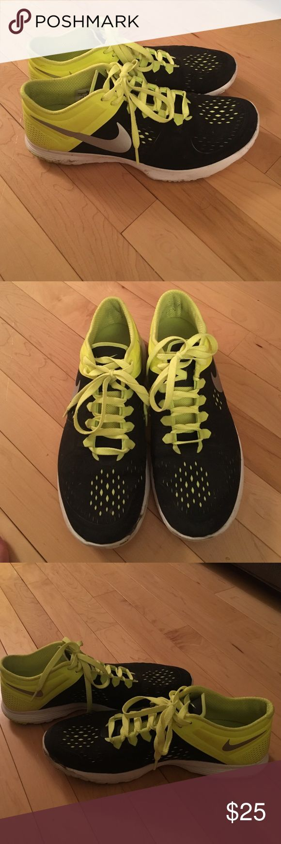 Black and Neon Nike shoes Black and neon Nike athletic shoes! Barely worn, too big. Nike Shoes Athletic Shoes