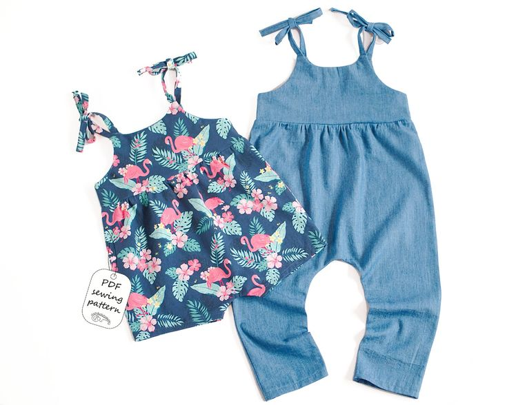 Easy to sew romper sewing pattern for baby and toddler girl, with ties on the shoulders and no snaps at the crotch.