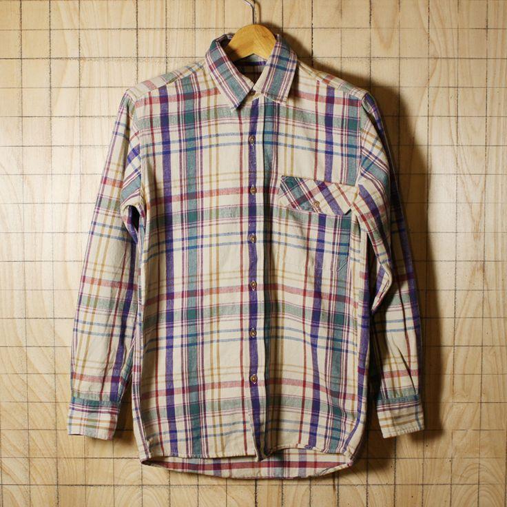 L.L.Bean/エルエルビーン/euro古着コットン100%チェック柄長袖シャツ/メンズXSサイズ