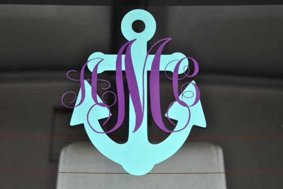 Anchor Monogram Car Decal made to order by DreamThread on Etsy, $8.00