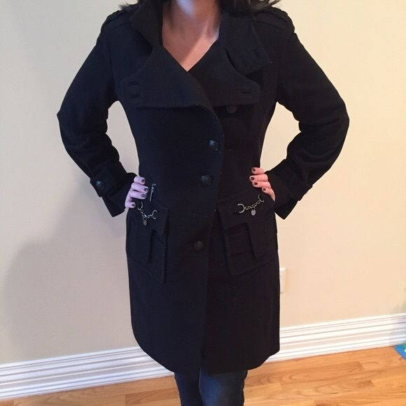 Laundry by Shelli Segal Wool Blend Coat  Black. 3/4 Length. Asymmetrical Buttons. Metallic Embellishments. Very Good Conditon. Shell is Wool/ Nylon Blend. FullyLined. Newly Dry Cleaned and Detailed. Laundry by Shelli Segal Jackets & Coats