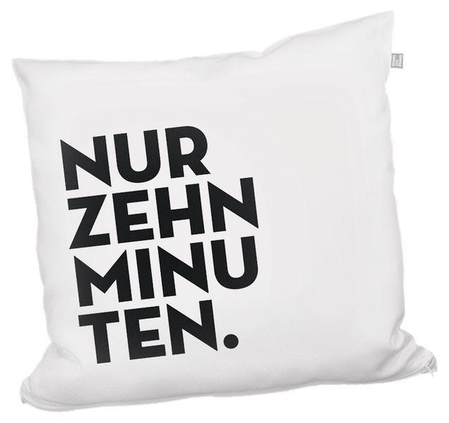 "Kissen ""Nur zehn minuten"" // Pillow ""Only ten minutes"" by stinksandstanks via DaWanda.com"