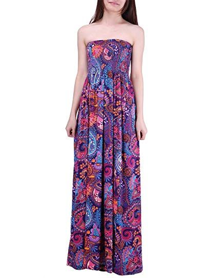 630de8f3aa HDE Women's Strapless Maxi Dress Plus Size Tube Top Long Skirt Sundress  Cover up (Purple Paisley, 2X)