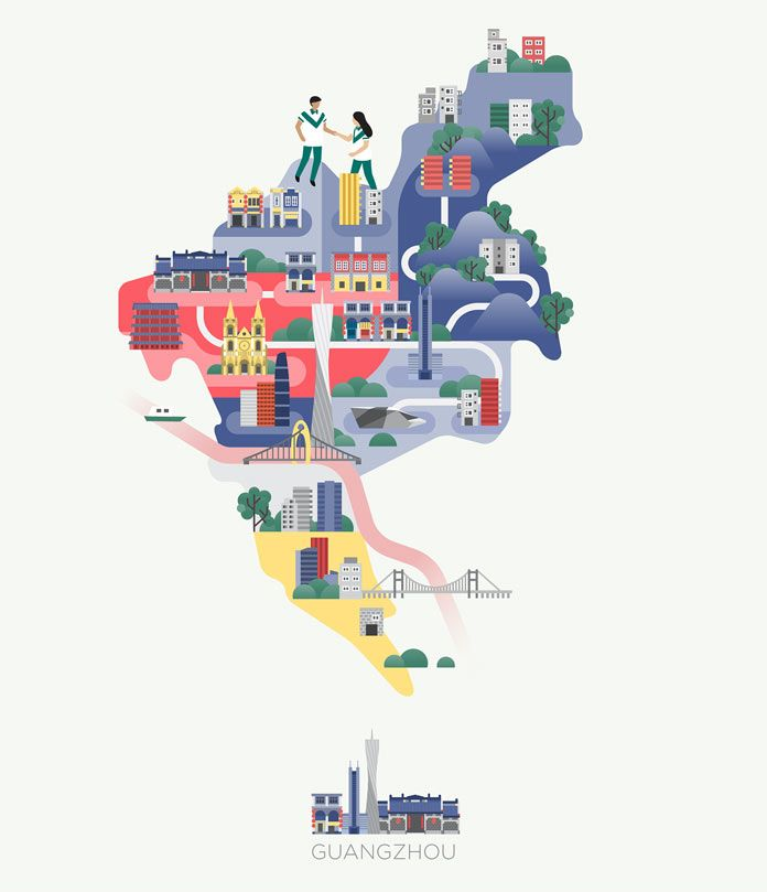Asia Map Illustrations by Jing Zhang