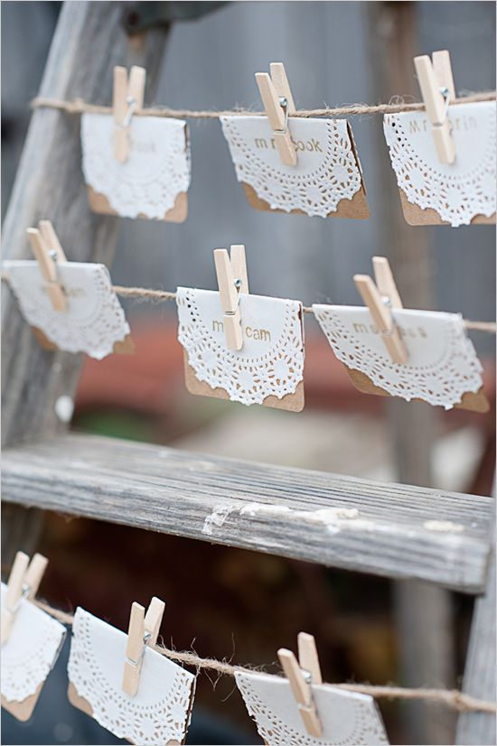 great way to display escort cards. pretty, vintage and simple.