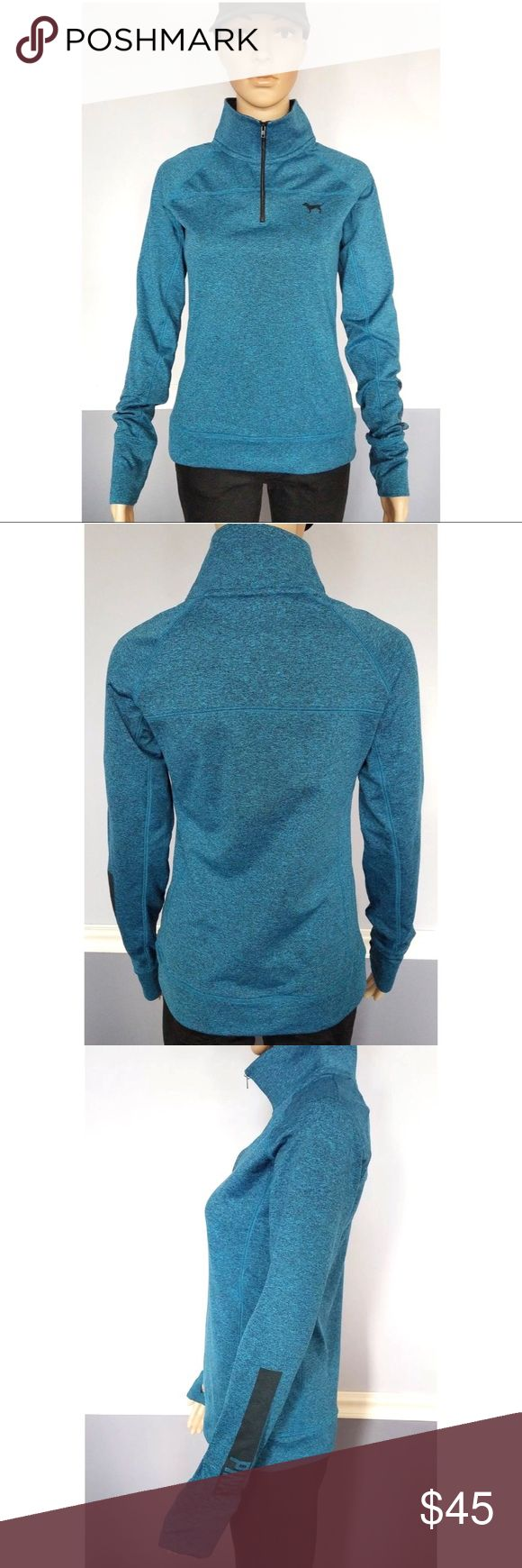 VS PINK Teal Heathered Thin Thermal Quarter Zip Women's VS PINK Teal Heathered ActiveWear Quarter Zip Sz S Excellent pre-owned condition. Quarter zip. 90% polyester 10% elastane Thin, but inside is soft, fleece like. Teal blue color with a heathered pattern. PINK logo on one sleeve. Has thumb holes Great for chilly runs outside. PINK Victoria's Secret Tops Sweatshirts & Hoodies
