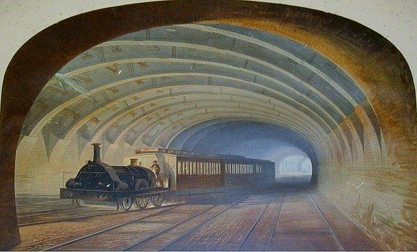 Metropolitan Railway, Bellmouth Praed Street, London by Samuel Hodson 1863 Private Collection posted on Twitter by @DrLivGibbs