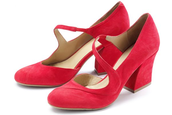 Audley Shoes. Red Court Shoes Mid Heel.