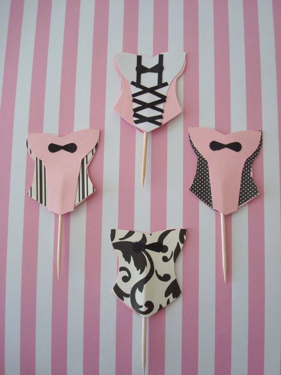 lingerie cupcake toppers