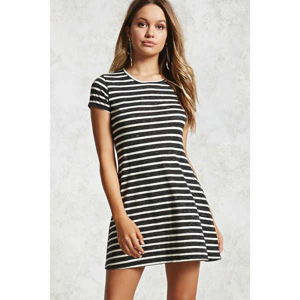 Forever21 Heathered Stripe T-Shirt Dress ($10) ❤ liked on Polyvore featuring dresses, short-sleeve dresses, white t shirt dress, sleeved dresses, striped t-shirt dresses and white tee shirt dress