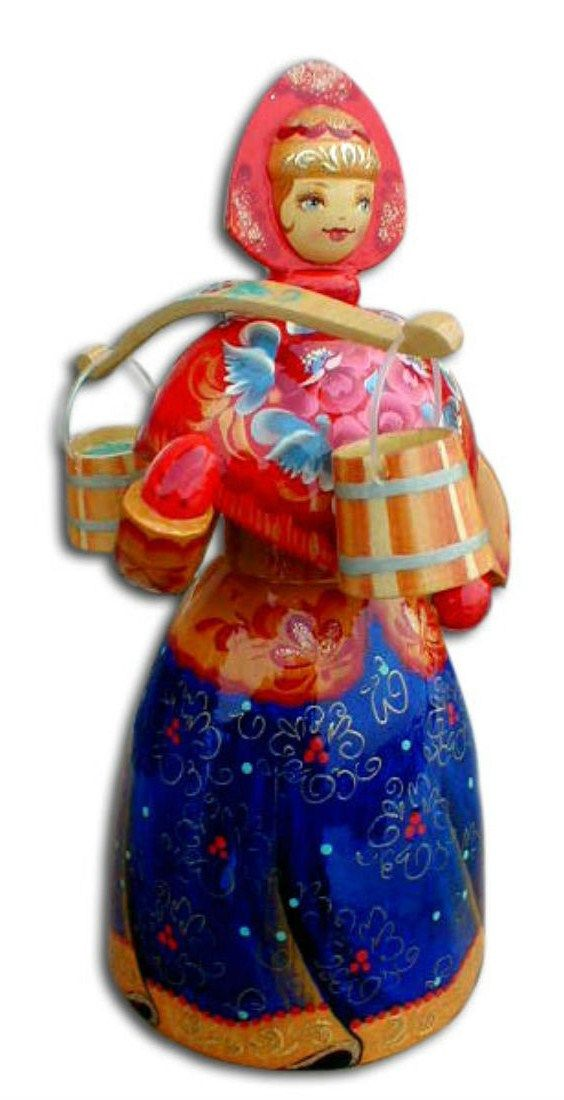 A wooden painted doll is one of the traditional Russian toys. #art #folk #Russian #doll