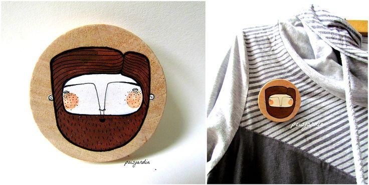 Handpainted wooden brooch made by poisjardin.   www.facebook.com/poisjardin