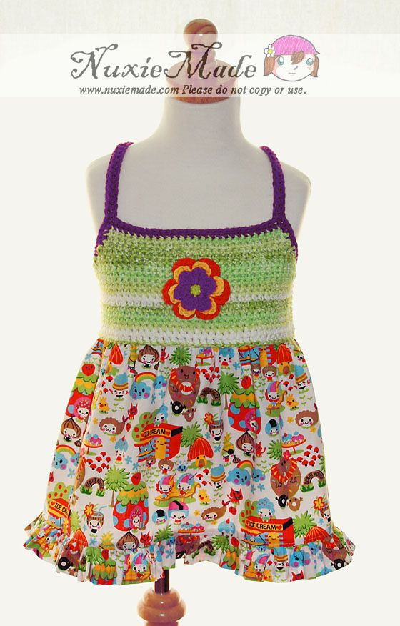 Pop Art Swing Top with Flower Clip-nuxiemade, crochet, bodice, pop art, kawaii, anime, japanese, flower, skirt, tie back, clothing, girl
