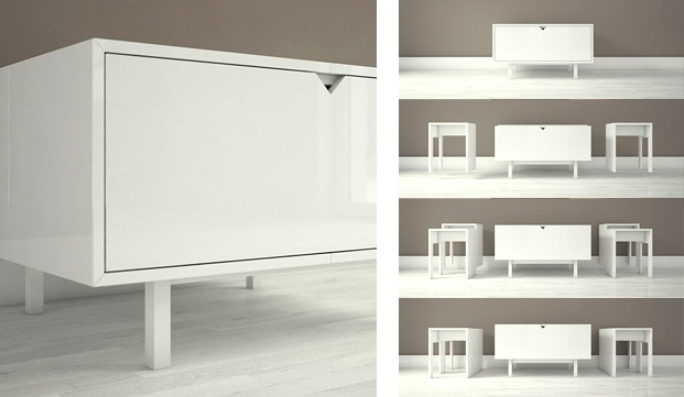 A special dresser that transforms into two seats and a coffe table. K-moda