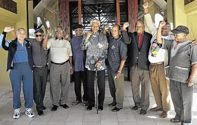 ISLANDERS FOREVER: In November 2003, Nelson Mandela and a group of former Robben Island inmates spent a weekend together at Madiba's farm outside Nylstroom to reminisce. With Mandela are, from the left, Eddie Daniels, Molefe Makinta, Raymond Mhlaba, Andrew Mlangeni, Ranka Cholo, Morris Matsemela, Nelson Diale and Henry Makgothi