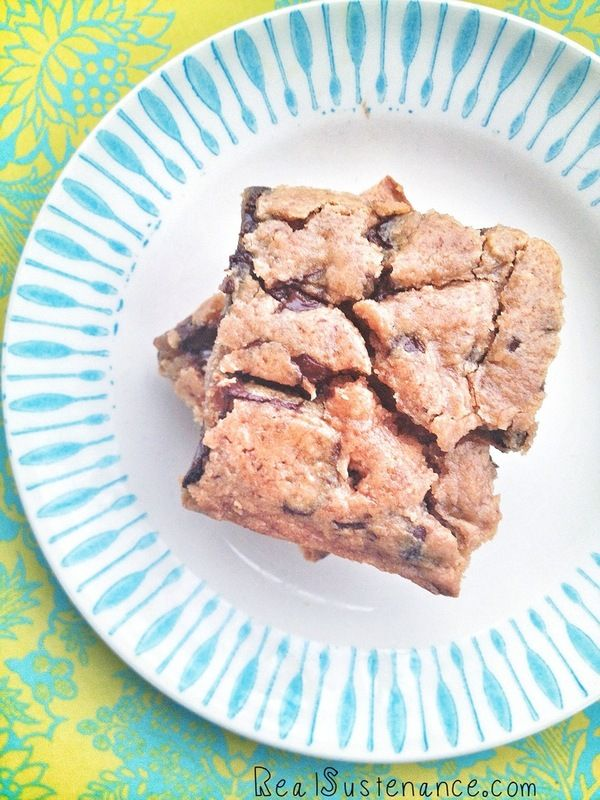 Peanut Butter Chocolate Chunk Blondies. (Gluten/Grain/Egg/Dairy Free with directions to make Sugar Free.)