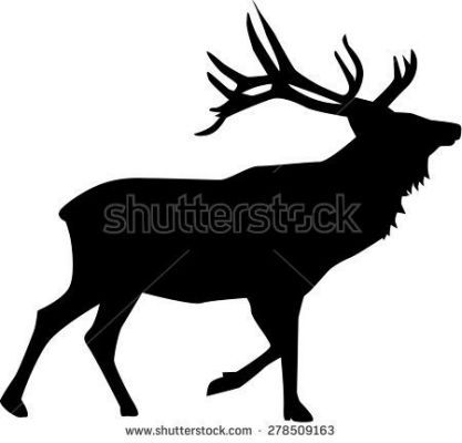 silhouette of a deer on white