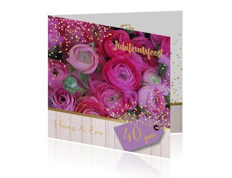 Uitnodiging 40 jubileumfeest met prachtige bloemen en goud
